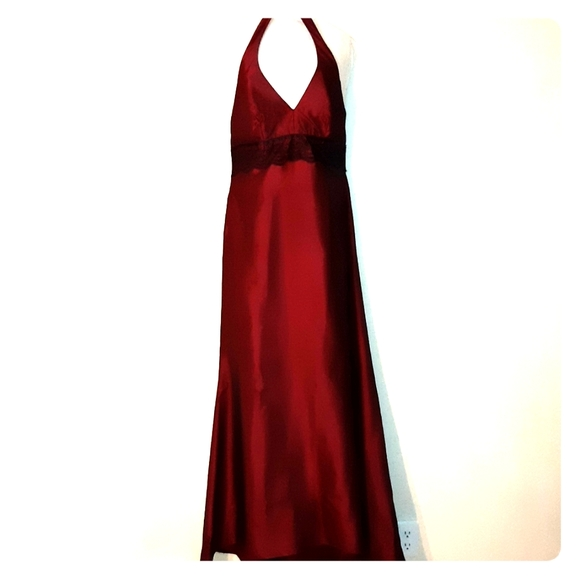 Lazaro Dresses Red Taffeta And Lace Evening Gown Poshmark